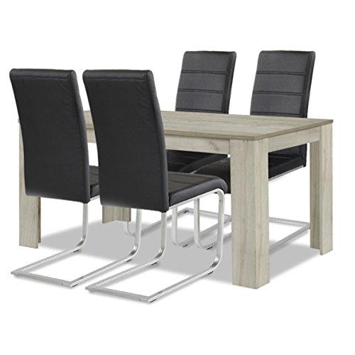 agionda ® Esstisch Stuhlset : 1 x Esstisch Toledo Eiche Sandeiche 140 x 90 4 Freischwinger schwarz