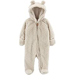 Long-sleeve zip front sherpa hooded bunting Cotton-lined hood with 3D ears Built-in footies 100% polyester sherpa Machine wash