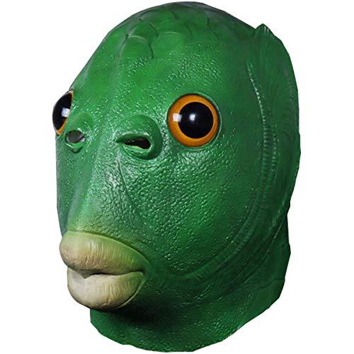 YMFZYM Cubierta de Cara Divertida de pez Verde, Juego ms Divertido para Adultos y nios, Accesorios de Fiesta para Cosplay, Sombreros de ltex, Disfraz novedoso para Fiestas de Animales