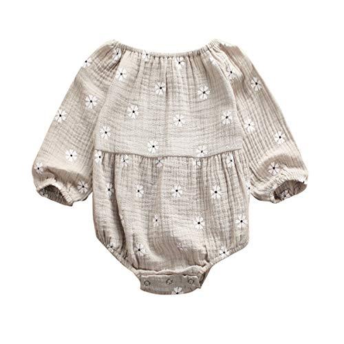 Infant Baby Girls Long Sleeve Romper Cotton Linen Bodysuit Ruffled Jumpsuit Newborn Autumn Outfit Clothes (6-12M, Gray)