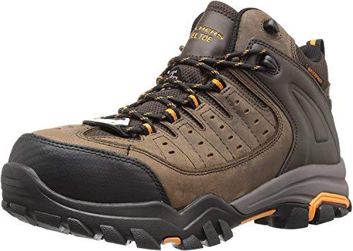 Skechers for Work Men's Delleker Lakehead Work Boot, Brown/Orange, 12 M US