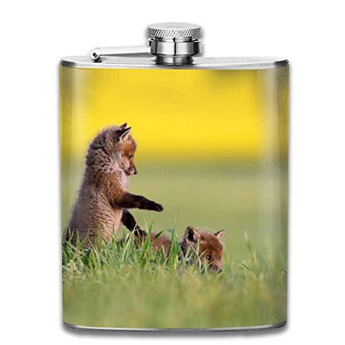 Cute Little Fox Fashion portátil de acero inoxidable a prueba de fugas 7OZ Pot Hip Flask Travel Camping Flagon