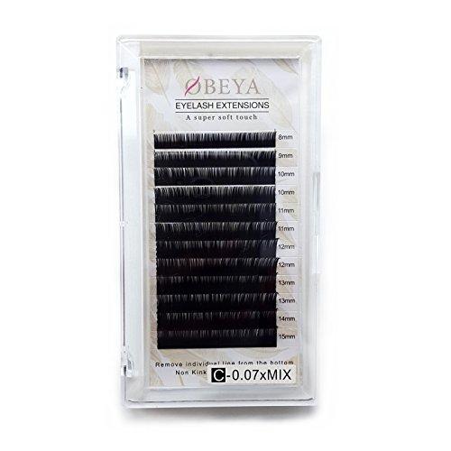 Obeya Wimpernverlängerung Einzelne Wimpern Dicke 0,07mm C Curl 8-15mm Gemischte Länge Künstliche Falsche Wimpern Einzeln Volumen Wimpern für Wimpern Extensions