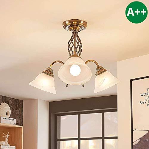 Lámpara de techo 'Mialina' en Bronce hecho de Vidrio e.o. para Salón & Comedor (3 llamas, E27, A++) de Lindby   lámpara de techo, lámpara