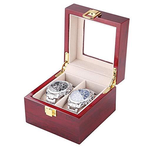 Summer rainy days Unbekannt Doppellagige Uhr-Aufbewahrungsbox, Vintage Holz Glasabdeckung 2/3/5/6/10/20 Uhr Schmuckkästchen und abnehmbares Aufbewahrungskissen, Geschenkboxen für Männer und Frauen