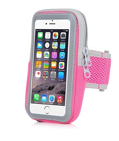 Yostyle Sports Armband Sweatproof Running Armbag Gym Fitness Workout Cell Phone Case with Key Holder Wallet Card Slot for iPhone X/XS/XS MAX/XR/ 8 7 6 6s Plus Samsung Galaxy S9 S8 Edge/Note 8 9 (Pink)