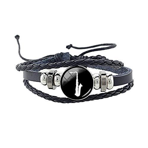 ZWXDMY Leder-Punk-Armband,Mann Leder Saxophon Schmuck Armreifen Personalisierte Multi Geflochtenes Seil Layer Armbänder Wrap Unisex Damen Charme Bracelets Wrap Netzkabel