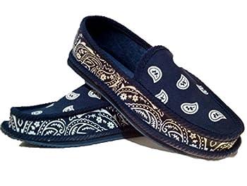 Navy Blue Bandana House Shoes Slippers Trooper Size 8 9 10 11 12 13  13