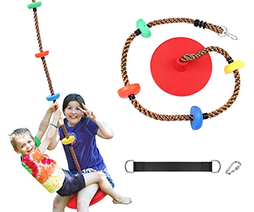 ORANGUTAN Rope Swing with Disc Swing Seat Set and Tree Climbing Rope for Kids - Playground Swingset Accessories Outdoor - Bonus Hanging Strap & Snap Hook (Red)…