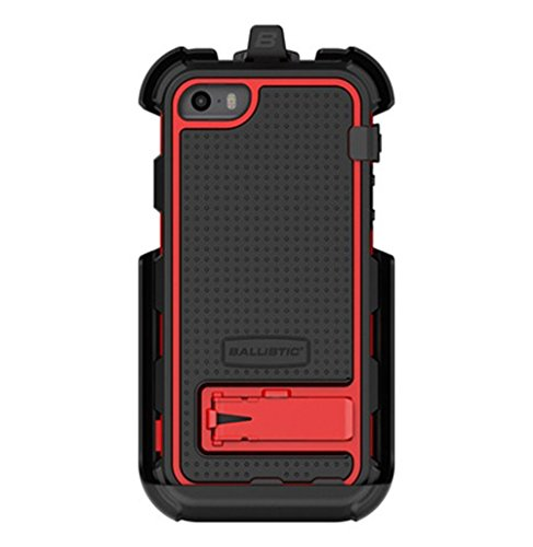 Ballistic Hard Core Series Case for Apple iPhone SE/5S/5 - Retail Packaging - Black/Red