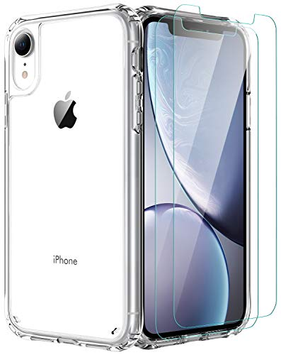 iPhone XR Case,[Airbag Series] with [2 x Tempered Glass Screen Protector] [ Military Grade ] | 15Ft. Drop Tested [Scratch-Resistant] | Wireless Charging | for Apple iPhone XR 6.1 Inc- Clear