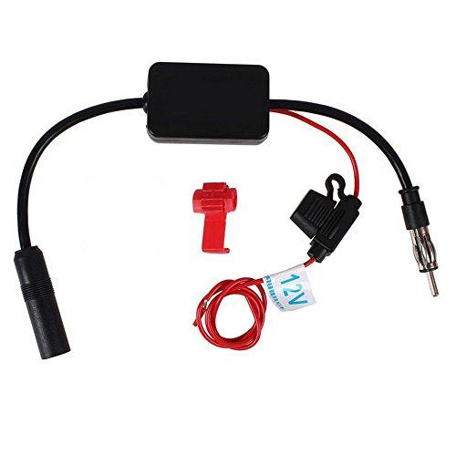 PolarLander 12V ANT-208 Auto Booster d'antenne de FM Amplificateur de Signal Radio de Voiture d'automobile de Noir de