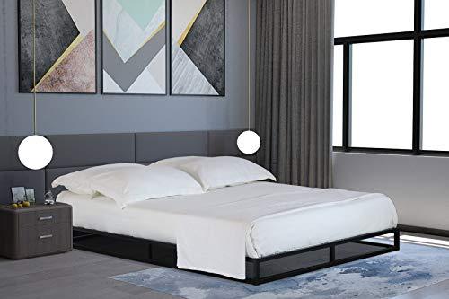 Home Treats Solid Metal Platform Bed Black. Minimalist Bed Frame (King Size 5ft, No Mattress)