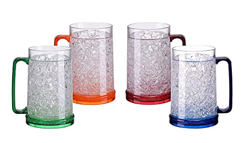 Easicozi Double Wall Gel Frosty Freezer Ice Mugs Clear 16oz Set of 4 (Blue, Red, Orange and Green)