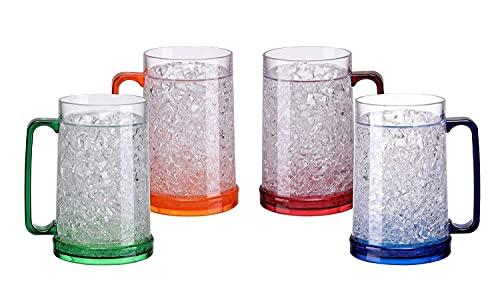Easicozi Double Wall Gel Frosty Freezer Ice Mugs Clear 16oz Set of 4