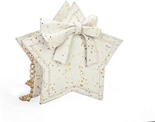 Fashion Single-Shoulder Bags Fashion Princess Bag Sequins Star Messenger Bag Girls Purse Cute Children Luxury Glittering Package(Sky Blue) (Color : White)