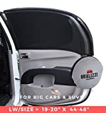 Qualizzi L-Wide/Car Sun Shades That Fit Most SUV's Windows Up to 20' x 48' at Maximum Stretch. Protective Sunscreen for Babies, Kids, Pets. Sleep On Car Privacy for Camping (2-Pack)