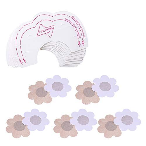 BOZEVON 10 Pares Desechable Pegatinas de Pechos & Cubierta de Pezón - Pegatinas Parches Realza Pechos Invisible Sin Sujetador Adhesivos Pezoneras, Forma de Flor - 10 Pares