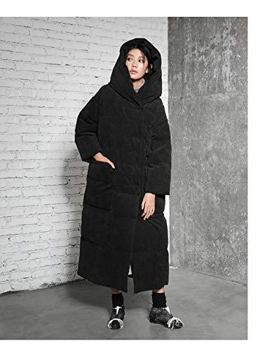 DPKDBN dames donsjack, grote tas en capuchon dikte 90% witte eendendons vrouwen lange jas kausal warme parken