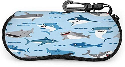 Funda para gafas Big Sharka grande para gafas de peces, resistente a los arañazos y portátil, soporte para gafas de sol de viaje, funda ligera con clip de gancho para unisex