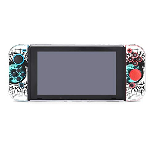 Funda protectora de PC antiarañazos, compatible con mando Joy-Con y controladores Split 5 piezas, ojo humano con calavera azul circular