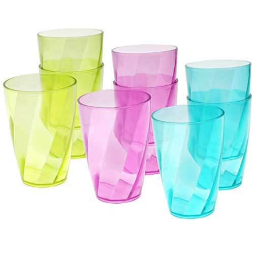 BELLE VOUS Vasos Colores de Plástico (Pack de 9) Vasos Reutilizables 400 ml en 3 Colores – Set Vaso Plástico para Fiestas, Acampadas, BBQs, Picnic, Playa – Aptos para Lavavajillas y Libres de BPA