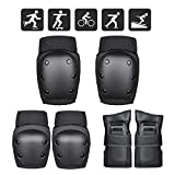 <span class='highlight'><span class='highlight'>FUCNEN</span></span> Elbow Knee and Wrist Pads Kids Teenagers Adult Sport Safety Pads Set Black 6 in 1 Teens Protective Gear Guard Set for Hoverboard Skateboard Scooter Skating Snowboarding Cycling Biking Safety