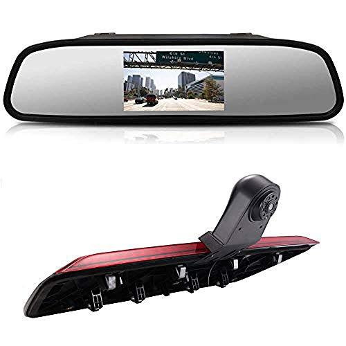 Kalakus HD Dritte Dach Bremsleuchte Rückfahrkamera Dachkamera Einparkhilfe+ 4,3 Zoll LCD Rückspiegel Transporter für VW Crafter dritte 3 ab Bremslicht Van Brake Light