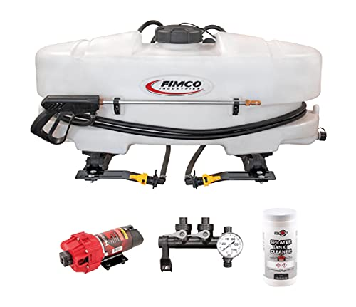 DU-MOST Fimco 5302323 ATV Sprayer for Large Area Liquid Coverage, 25 Gallon UV Resistant Polymer Tank, 4.5GPM HighFlo High Performance Pump, 2 Nozzle Boomless, Deluxe Handgun & 1 Lb Spray Tank Cleaner