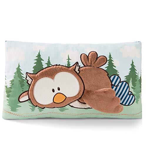 NICI 46098 Kuscheltierkissen The Owlson, Kuschelkissen Eule für Jungen, Mädchen & Babys, Flauschiges Stofftier, Plüschtier, Gemütliches Kissen ab 0 Monaten I 46089, braun/blau, 43 x25 cm