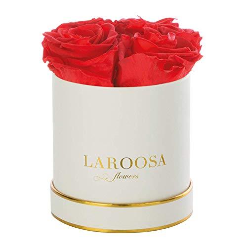 LAROOSA flowers Infinity Rosen Flowersbox Rosenbox mit echten & konservierten Blumen (3 Jahre haltbar) (Small, Lady Red)