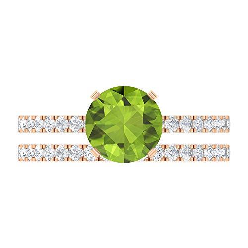 7.5 MM Solitaire Peridot Ring, D-VSSI Moissanite Half Eternity Band, Side Stone Engagement Ring, Wedding Bridal Ring Set, 10K Rose Gold, Size:UK V