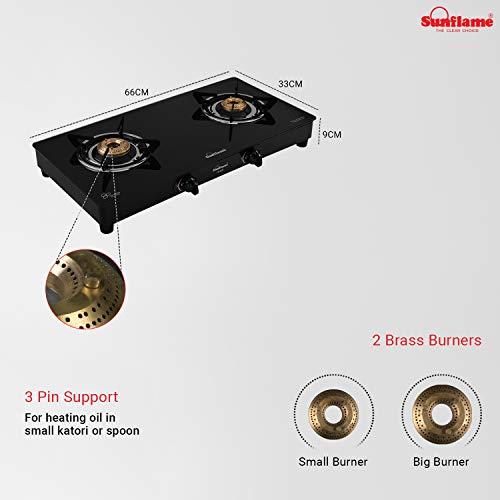 Sunflame Crystal Toughened Glass 2 Brass Burner Gas Stove (Manual Ignition, Black)