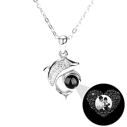 Collar de foto personalizado Collar de 100 idiomas TE AMO Collar de memoria Colgante de delfín Collar de proyección personalizado(Plata Blanco y negro 14)