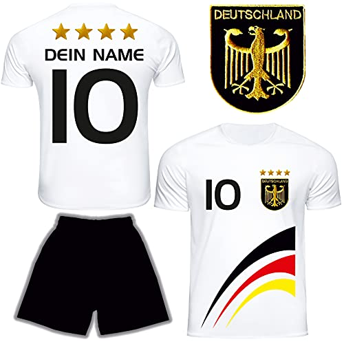 DE FANSHOP Deutschland Trikot mit Hose & GRATIS Wunschname Nummer #D8 2021/2022 EM/WM Weiss - Geschenk für Kinder Jungen Baby Fußball T-Shirt personalisiert