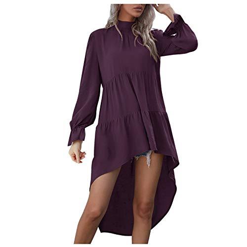 Vestido de mujer para mujer, de manga larga, suelto, cuello alto, dobladillo irregular, blusa sólida, Morado (, M