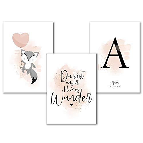 Personalisiertes Aquarell Kinderzimmer Poster mit Buchstabe für Mädchen in Rosa Grau, Spruch...
