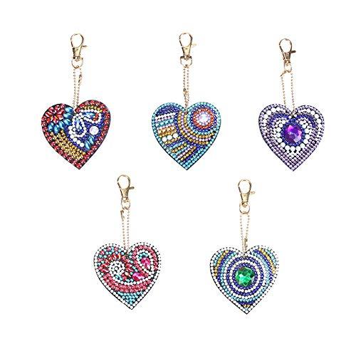 WinnerEco Conjunto de chaveiros com pintura de diamante 5D, 5 peças faça-você-mesmo, broca completa, formato de coração, pingente de pintura de diamante para artesanato, chaveiro, pingente de telefone, decoração de Natal para amigos