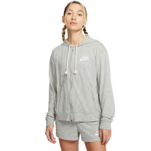 Nike Damen Kapuzenpullover Damen Sportswear Gym Vintage Hoodie FZ, Dk Grey Heather/Sail, XL, CJ1694-063