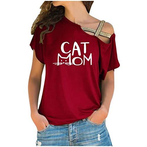 Yolmook Femme T-Shirt Manche Courte Mignon Hauts Imprimé Chat Slim Chemisier ÉPaule CroiséE IrréGulier Blouse Tee Shirt Tops Nouveau 2020 Pas Cher Vente(XXXXX-Large,Vin Rouge)