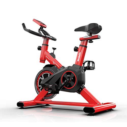 Bicicleta Spinning Indoor Ultra Silencioso, Volante De Gran Tamaño, Estructura De Soporte Triangular, Pantalla LED, Frecuencia Cardíaca Medible, Adecuado para El Hogar, La Empresa,Rojo