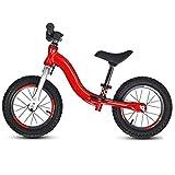 DREAMyun Bicicleta sin Pedales para niños y niñas a Partir de 3-6 año, Bici 12' 14' Ligero (3.4KG) con sillín y manubrio Regulable,Rojo,12'