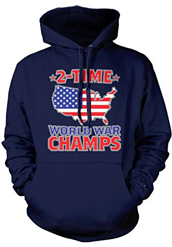 Amdesco Men's 2 Time World War Champs Hooded Sweatshirt, Navy Blue Large