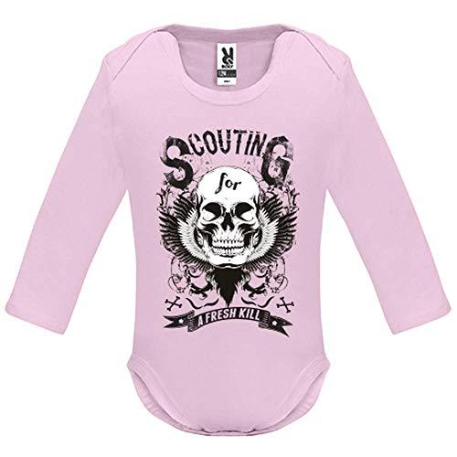 LookMyKase Body bébé - Manche Longue - Scouting for a Fresh Kill - Bébé Fille - Rose - 3MOIS