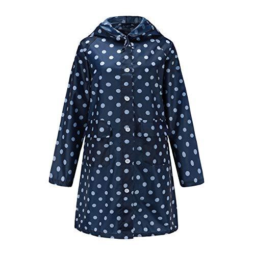 SDCVRE Impermeable,Chaqueta Impermeable Larga Wave para Mujer Chaqueta Impermeable al Aire Libre Poncho a Prueba de Viento Prendas de Vestir Sudaderas Impermeables Abrigo de Lluvia, Azul, XL