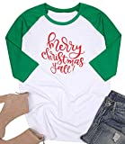 MNLYBABY Women Plus Size Merry Christmas Y'all O-Neck Baseball T-Shirt 3/4 Raglan Sleeve Letters Print Top for Women (XXL, Green)