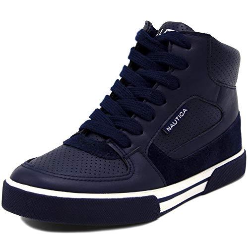 Nautica Kids Horizon Sneaker-Lace Up Fashion Shoe- Boot Like High Top-Horizon-Navy-1