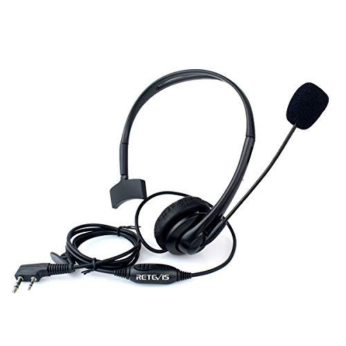 Retevis Diadema Auricular Antirruido con Micrófono PTT 2 Pines Pinganillo Compatible con Walkie Talkie RT24 RT22 RT27 RT5R RT7 Baofeng UV-5R BF-888S BF-88E Kenwood QUANSHENG WOUXUN HYT TYT (1 Pcs)