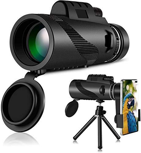 Monokulare Teleskop, 40x60 Fernglas Hochleistungs-wasserdichtes, mit Smartphone-Halter und verstellbarem Stativ für die Vogelbeobachtung auf dem Handy