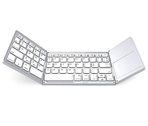 SHTST Faltbare Bluetooth-Tastatur, drahtlose Bluetooth-Tastatur, faltbar Touchpad, Dual-Mode-USB wiederaufladbare tragbare Tastatur for Android, Windows PC, Tablet (Color : White)